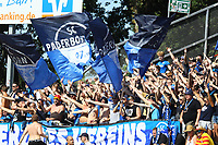 Fans aus Paderborn - 05.08.2018: SV Darmstadt 98 vs. SC Paderborn 07, Stadion am Boellenfalltor, 1. Spieltag 2. Bundesliga<br /> <br /> DISCLAIMER: <br /> DFL regulations prohibit any use of photographs as image sequences and/or quasi-video.