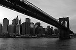 The Brooklyn Bridge, photographed from a water taxi
