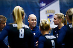 PENSACOLA, FL - DECEMBER 09: Head coach Brady Starkey of Concordia University, St. Paul speaks with players during the Division II Women's Volleyball Championship held at UWF Field House on December 9, 2017 in Pensacola, Florida. (Photo by Timothy Nwachukwu/NCAA Photos via Getty Images)
