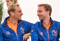 Moscow, Russia, 14 th July, 2016, Tennis,  Davis Cup Russia-Netherlands, Start of the draw, Dutch team members Thiemo De Bakker (NED) and Matwe Middelkoop (NED) (R)<br /> Photo: Henk Koster/tennisimages.com