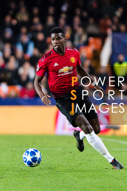 Paul Pogba of Manchester United in action during the UEFA Champions League 2018-19 match between Valencia CF and Manchester United at Estadio de Mestalla on December 12 2018 in Valencia, Spain. Photo by Maria Jose Segovia Carmona / Power Sport Images