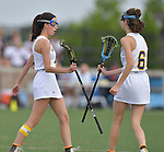 O'Fallon's Adler Maher (left) is congratulated by her twin sister Riley Maher after Adler Maher scored a goal. O'Fallon played Minooka in a quarterfinal game of the O'Fallon sectional at O'Fallon Sports Park on Monday May 20, 2019. <br /> Tim Vizer/Special to STLhighschoolsports.com