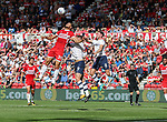 Rudy Gestede of Middlesbrough in action with Alan Browne of Preston North End during the Sky Bet Championship match at the Riverside Stadium, Middlesbrough. Picture date: August 26th 2017. Picture credit should read: Jamie Tyerman/Sportimage