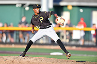 Bristol Pirates pitcher Yordi Rosario (30) delivers a pitch during game two of the Appalachian League, West Division Playoffs against the Johnson City Cardinals at TVA Credit Union Ballpark on August 31, 2019 in Johnson City, Tennessee. The Cardinals defeated the Pirates 7-4 to even the series at 1-1. (Tony Farlow/Four Seam Images)