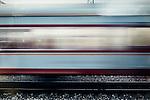 Moving train with motion blur effect, China