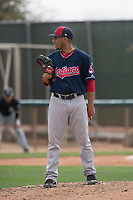 Cleveland Indians relief pitcher Randy Valladares (45) during a Minor League Spring Training game against the Chicago White Sox at Camelback Ranch on March 16, 2018 in Glendale, Arizona. (Zachary Lucy/Four Seam Images)