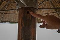 Jack Swart, der letzte Gefängniswächter von Nelson Mandela, vor dem Haus im Drakenstein-Gefängnis in der Nähe von Paarl, Südafrika, in dem Mandela in den letzten Monaten seiner 27 Jahre langen Gefangenschaft inhaftiiert war. Hier ein Loch in einem Sonnenschirm im Garten, wo eine Abhörvorrichtung angebracht war