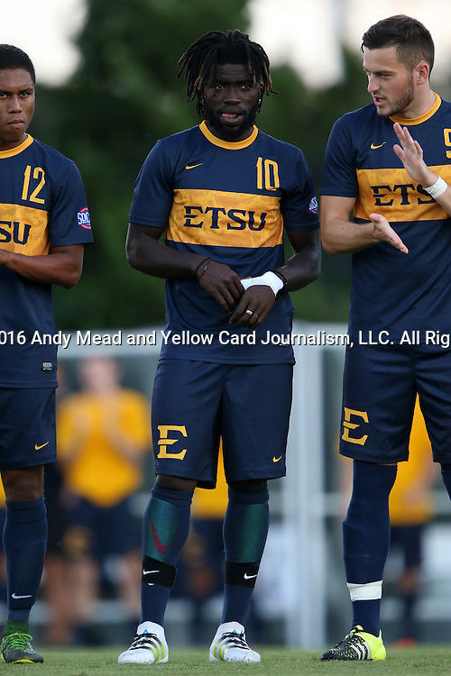 13 September 2016: ETSU's Serge Gomis (SEN). The University of North Carolina Tar Heels hosted the East Tennessee State University Buccaneers at Fetzer Field in Chapel Hill, North Carolina in a 2016 NCAA Division I Men's Soccer match. ETSU won the game 1-0 in sudden death overtime.