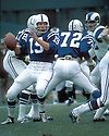 Baltimore Colts Johnny Unitas (19) in action during a game against the Los Angeles Rams at Memorial Stadium in Baltimore, Maryland. Johnny Unitas was inducted to the Pro Football Hall of Fame in 1979.