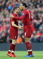 Liverpool's James Milner (left) and Virgil van Dijk greet each other ahead of kick-off<br /> <br /> Photographer Rich Linley/CameraSport<br /> <br /> UEFA Champions League Semi-Final 2nd Leg - Liverpool v Barcelona - Tuesday May 7th 2019 - Anfield - Liverpool<br />  <br /> World Copyright © 2018 CameraSport. All rights reserved. 43 Linden Ave. Countesthorpe. Leicester. England. LE8 5PG - Tel: +44 (0) 116 277 4147 - admin@camerasport.com - www.camerasport.com