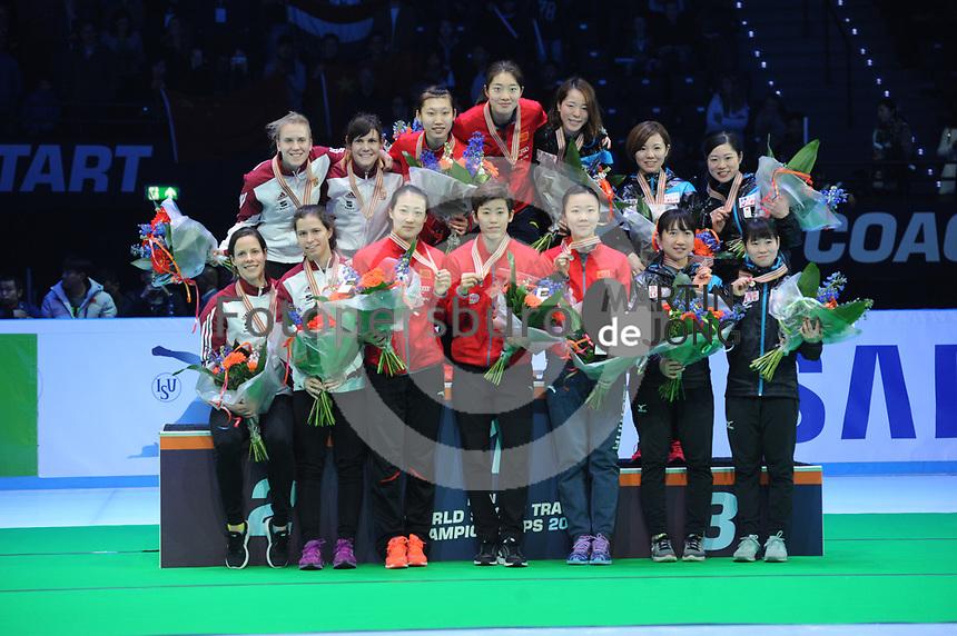 SHORT TRACK: ROTTERDAM: Ahoy, 12-03-2017, KPN ISU World Short Track Championships 2017, Podium Relay Ladies, Team Hungary, Team China, Team Japan, ©photo Martin de Jong