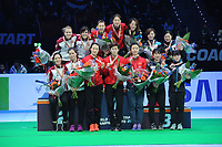 SHORT TRACK: ROTTERDAM: Ahoy, 12-03-2017, KPN ISU World Short Track Championships 2017, Podium Relay Ladies, Team Hungary, Team China, Team Japan, ©photo Martin de Jong