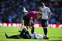 Tottenham Hotspur's Toby Alderweireld is checked over after taken a knock <br /> <br /> Photographer Ashley Crowden/CameraSport<br /> <br /> The Premier League - West Bromwich Albion v Tottenham Hotspur - Saturday 5th May 2018 - The Hawthorns - West Bromwich<br /> <br /> World Copyright &copy; 2018 CameraSport. All rights reserved. 43 Linden Ave. Countesthorpe. Leicester. England. LE8 5PG - Tel: +44 (0) 116 277 4147 - admin@camerasport.com - www.camerasport.com