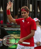 Royal Sydney Golf Club, Sydney, Australia v Switzerland Davis Cup 16/09/2011.Roger Federer (SUI) Second rubber.Photo:  Frey Fotosports International / AMN Images