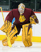Kenny Reiter (Duluth - 35) - The University of Minnesota-Duluth Bulldogs practiced on Friday morning, April 8, 2011, during the 2011 Frozen Four at the Xcel Energy Center in St. Paul, Minnesota.