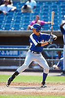 Timothy McDonald #16 of the Village Christian Academy in Fayetteville, North Carolina playing for the Toronto Blue Jays scout team during the East Coast Pro Showcase at Alliance Bank Stadium on August 3, 2012 in Syracuse, New York.  (Mike Janes/Four Seam Images)