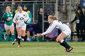 1st February 2019, Energia Park, Dublin, Ireland; Womens Six Nations rugby, Ireland versus England;  Emily Scott of England attempts to catch a forwarded kicked ball just before the full time whistle