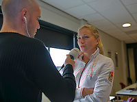 The Netherlands, Den Bosch, 16.04.2014. Fed Cup Netherlands-Japan, Press-conference Netherlands team,  Michaella Krajicek being interviewed<br /> Photo:Tennisimages/Henk Koster
