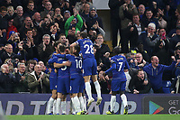 Chelsea players and fans celebrate Alvaro Morata scoring his second goal of the match during Chelsea vs Crystal Palace, Premier League Football at Stamford Bridge on 4th November 2018