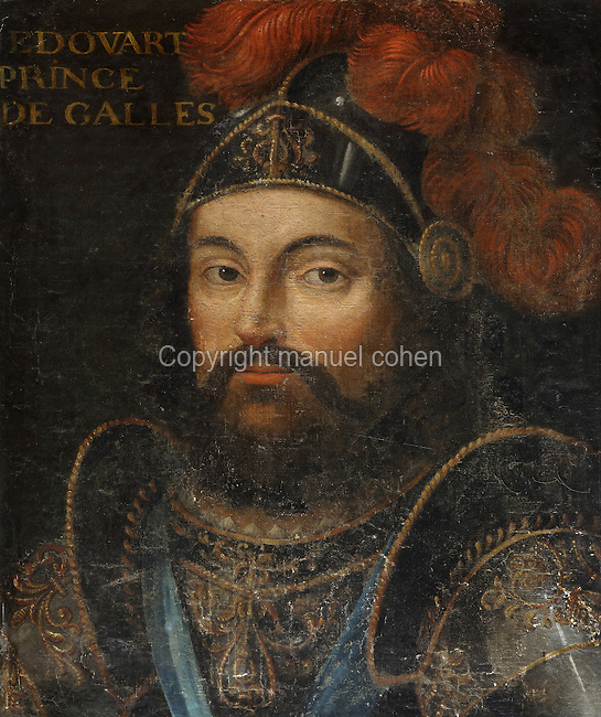 Portrait of Edward, Prince of Wales, known as the Black Prince, 1330-76, in the Galerie des Illustres or Gallery of Portraits, early 17th century, in the Chateau de Beauregard, a Renaissance chateau in the Loire Valley, built c. 1545 under Jean du Thiers and further developed after 1617 by Paul Ardier, Comptroller of Wars and Treasurer, in Cellettes, Loir-et-Cher, Centre, France. The Gallery of Portraits is a 26m long room with lapis lazuli ceiling, Delftware tiled floor and decorated with 327 portraits of important European figures living 1328-1643, in the times of Henri III, Henri IV and Louis XIII. The chateau is listed as a historic monument. Picture by Manuel Cohen
