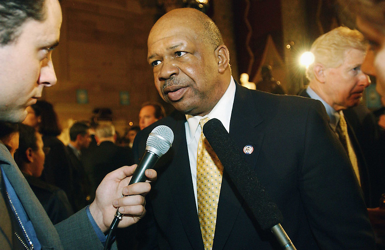 1/28/03.STATE OF THE UNION ADDRESS--Rep. John Lewis, D-Ga., talks to a reporter in Statuary Hall after President George W. Bush's State of the Union address at the U.S. Capitol. James P. Moran, D-Va., passes at right..CONGRESSIONAL QUARTERLY PHOTO BY SCOTT J. FERRELL