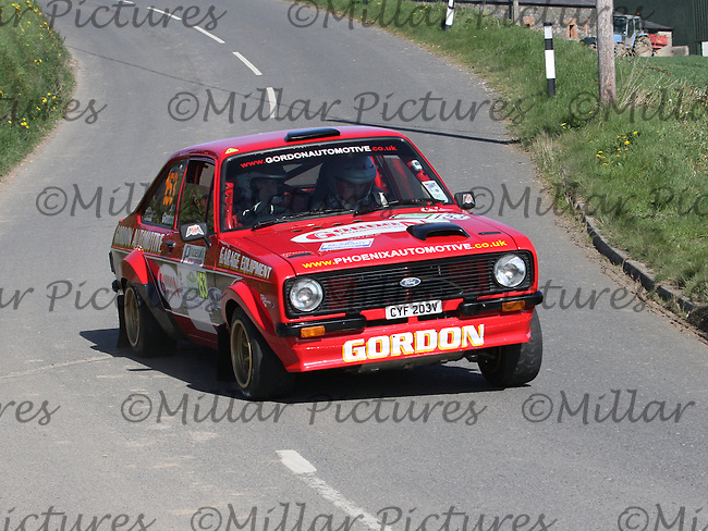 John Gordon - Thomas Wedlock in a Ford Escort Mk 2 near Junction 4 on Special Stage 1 Loughries Village of the Discover Northern Ireland Circuit of Ireland Rally which was a constituent round of  the FIA European Rally Championship, the FIA Junior European Rally Championship, the Clonakilty Irish Tarmac Rally Championship, and the MSA ANICC Northern Ireland Stage Rally Championships which took place on 18.4.14 and 19.4.14 and was based in Belfast.