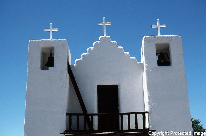 Facade and bell towers of St. Jerome (San Geronimo) Catholic Chapel at Taos Pueblo, New Mexico