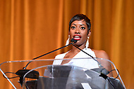 Washington, DC - September 14, 2018: Travel Channel host Kellee Edwards speaks after receiving an lNNPA leadership award during the National Newspaper Publishers Association awards banquet held at the Marriott Marquis in Washington, DC September 14, 2018.  (Photo by Don Baxter/Media Images International)