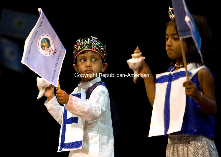 WATERBURY, CT-03 JULY, 2010-030710S03--Children perform a musical skit during the opening of  FeTNA's 23rd Annual Tamil Convention being held this weekend at the Palace Theater in Waterbury. The Federation of Tamil Sangams (Associations) of North America is an umbrella organization for nearly 35-40 local Organizations, presents a Mega event each year in a different state and city where Tamils of North America congregate, celebrate their culture and heritage. <br /> Jim Shannon Republican-American