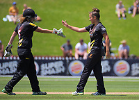 Amelia Kerr (right) celebrates a wicket with keeper Jess McFadyen during the women's Twenty20 cricket match between the Wellington Blaze and Otago Sparks at Basin Reserve in Wellington, New Zealand on Friday, 28 December 2018. Photo: Dave Lintott / lintottphoto.co.nz