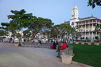 Stone Town, Zanzibar, Tanzania.  Forodhani Gardens.  Beit El Ajaib, former Sultan's Palace, in background.