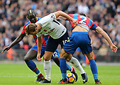 5th November 2017, Wembley Stadium, London England; EPL Premier League football, Tottenham Hotspur versus Crystal Palace; Harry Kane of Tottenham Hotspur is blocked by Joel Ward and Mamadou Sakho of Crystal Palace