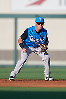 Tampa Tarpons second baseman Diego Castillo (19) during a game against the Lakeland Flying Tigers on April 6, 2018 at Publix Field at Joker Marchant Stadium in Lakeland, Florida.  Lakeland defeated Tampa 6-5.  (Mike Janes/Four Seam Images)