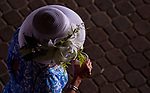 LOUISVILLE, KY - MAY 04: A woman wears a fancy white hat on Kentucky Oaks Day at Churchill Downs on May 4, 2018 in Louisville, Kentucky. (Photo by Scott Serio/Eclipse Sportswire/Getty Images)