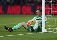 Stoke City's Jack Butland<br /> <br /> Photographer Rob Newell/CameraSport<br /> <br /> The Premier League - West Ham United v Stoke City - Monday 16th April 2018 - London Stadium - London<br /> <br /> World Copyright &copy; 2018 CameraSport. All rights reserved. 43 Linden Ave. Countesthorpe. Leicester. England. LE8 5PG - Tel: +44 (0) 116 277 4147 - admin@camerasport.com - www.camerasport.com