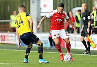 Fleetwood Town's Danny Andrew under pressure from Oxford United's Anthony Forde<br /> <br /> Photographer Rich Linley/CameraSport<br /> <br /> The EFL Sky Bet League One - Fleetwood Town v Oxford United - Saturday 7th September 2019 - Highbury Stadium - Fleetwood<br /> <br /> World Copyright © 2019 CameraSport. All rights reserved. 43 Linden Ave. Countesthorpe. Leicester. England. LE8 5PG - Tel: +44 (0) 116 277 4147 - admin@camerasport.com - www.camerasport.com