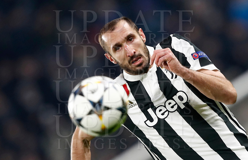 Football Soccer: UEFA Champions League Juventus vs Tottenahm Hotspurs FC Round of 16 1st leg, Allianz Stadium. Turin, Italy, February 13, 2018. <br /> Juventus' Giorgio Chiellini in action during the Uefa Champions League football soccer match between Juventus and Tottenahm Hotspurs FC at Allianz Stadium in Turin, February 13, 2018.<br /> UPDATE IMAGES PRESS/Isabella Bonotto