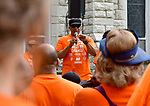 James Clark, Vice President of Better Family Life, speaks to participants before they began the Wear Orange Day March against gun violence on Saturday June 2, 2018. The walk began at St. Alphonsus Liguori Catholic Church and proceeded north on North Grand Boulevard to the Herbert Hoover Boys & Girls Club where a rally and resource fair was held. June is National Gun Violence Awareness Month.<br /> Photo by Tim Vizer