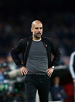 Football Soccer: UEFA Champions League Napoli vs Mabchester City San Paolo stadium Naples, Italy, November 1, 2017. <br /> Manchester City's Josep Guardiola looks on during the Uefa Champions League football soccer match between Napoli and Manchester City at San Paolo stadium, November 1, 2017.<br /> UPDATE IMAGES PRESS/Isabella Bonotto