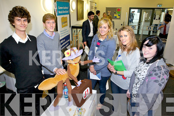 Etienne Lointier and Alexis Oppermann from travelbug.ie with Jennifer Switzer from Killarney, Jane Costello from Tralee and Jennifer O'Halloran from Ballyheigue at the Careers Fair in the IT Tralee on Wednesday.