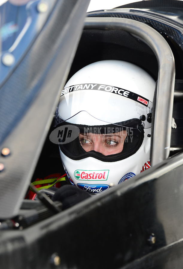 Jan. 16, 2013; Jupiter, FL, USA: NHRA top fuel dragster driver Brittany Force during testing at the PRO Winter Warmup at Palm Beach International Raceway.  Mandatory Credit: Mark J. Rebilas-