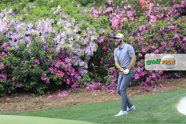 Dustin Johnson (USA) on the 13th during the 1st round at the The Masters , Augusta National, Augusta, Georgia, USA. 11/04/2019.<br /> Picture Fran Caffrey / Golffile.ie<br /> <br /> All photo usage must carry mandatory copyright credit (© Golffile | Fran Caffrey)
