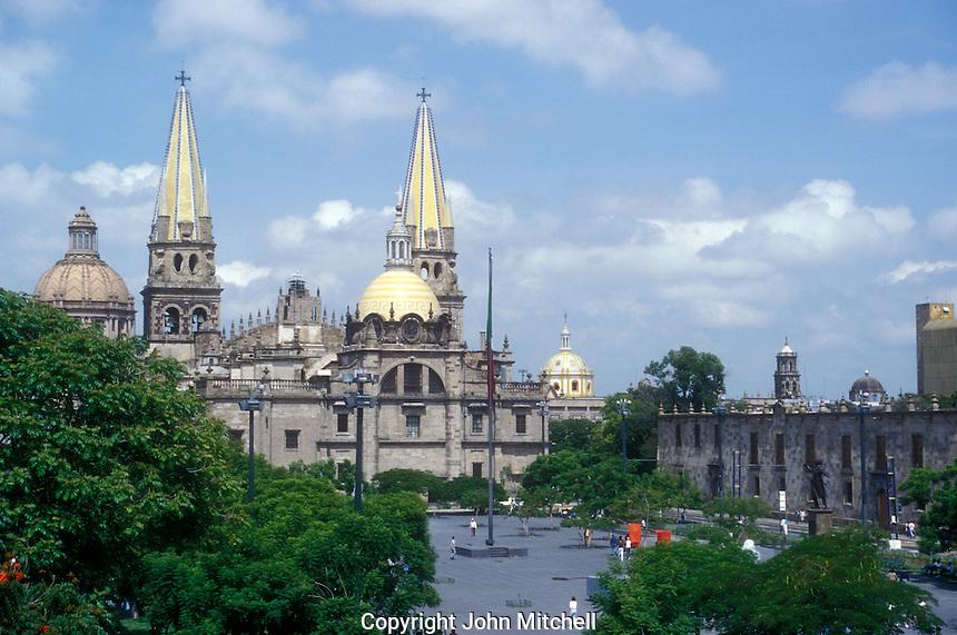 The cathedral and Plaza de la Liberacion in downtown Guadalajara, Mexico