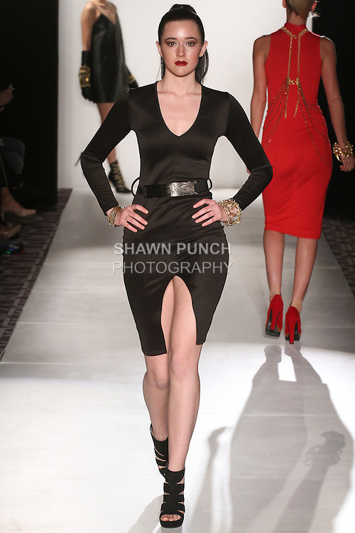 "Model walks runway wearing jewelry from the Ronnetta Coleman Fall Winter 2015 ""Lovely Bound"" collection by Ronnetta J. Coleman, during the Accessories Premier Fall Winter 2015 fashion show for  Fashion Gallery New York Fashion Week Fall 2015."
