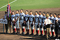 Osaka Toin team group,<br /> APRIL 1, 2016 - Baseball :<br /> Osaka Toin players line up with the championship pennant, the trophy and the gold medals during the closing ceremony after winningg the 89th National High School Baseball Invitational Tournament final game between Riseisha 3-8 Osaka Toin at Koshien Stadium in Hyogo, Japan. (Photo by Katsuro Okazawa/AFLO)