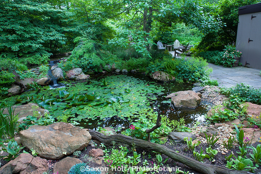Small waterfall into pond in naturalistic shady woodland garden by patio
