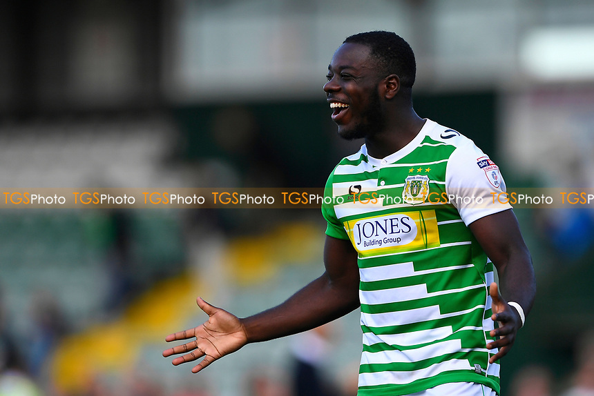 Olufela Olomola of Yeovil Town celebrates his two goals at the final whistle during Yeovil Town vs Accrington Stanley, Sky Bet EFL League 2 Football at Huish Park on 12th August 2017