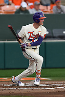 Third baseman Patrick Cromwell (25) of the Clemson Tigers bats in a game against the Furman Paladins on Tuesday, February 20, 2018, at Doug Kingsmore Stadium in Clemson, South Carolina. Clemson won, 12-4. (Tom Priddy/Four Seam Images)