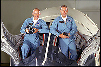 BNPS.co.uk (01202 558833)<br /> Pic: NASA/BNPS<br /> <br /> Aldrin(left) and Jim Lovell before the Gemini 12 mission.<br /> <br /> Out of this world - The worlds first selfie in orbit, taken by astonaut Buzz Aldrin while floating above the earth 51 years ago, has emerged for sale.<br /> <br /> The astronaut posed for the first ever self-portrait in space during the Gemini 12 mission in November 1966.<br /> <br /> Aldrin spent five and a half hours outside the spacecraft in three sorties during which he photographed star fields and also found the time to take this ground-breaking selfie.<br /> <br /> He lifted the visor of his helmet so his forehead and eyes are visible, with the blue curve of the earth providing a stunning background.<br /> <br /> Bloomsbury Auctions - Sept 14th - Est &pound;1200.