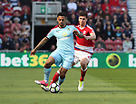 Andre Gray of Burnley in action with Daniel Ayala of Middlesbrough  during the Premier League match at the Riverside Stadium, Middlesbrough. Picture date: April 8th, 2017. Pic credit should read: Jamie Tyerman/Sportimage